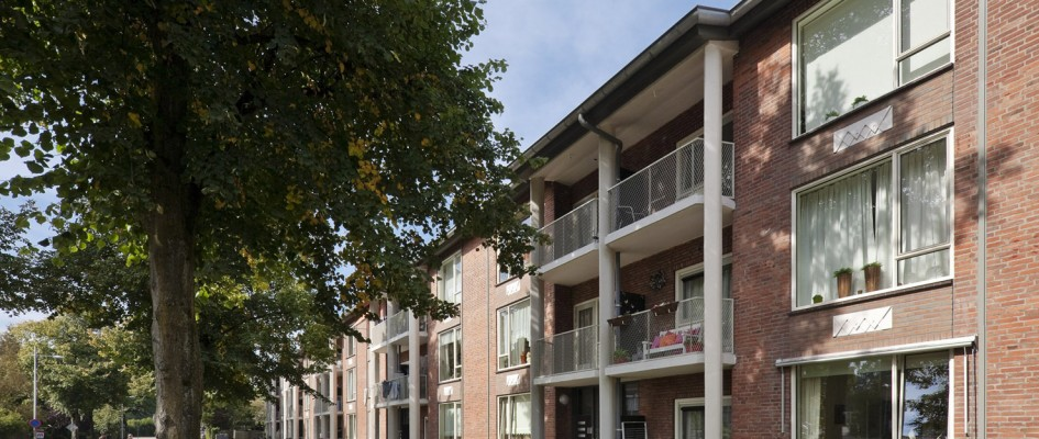 Het project Gasthuislaan te Amersfoort betreft een grootschalig onderhoud van een serie complexen met daarin 80 woningen, 5 per portiek. Haar markante, waardevolle architectuur werd gerespecteerd en zo mogelijk versterkt. Dat was de opgave. Anne Marie Peters was voor Van Schagen Architekten de projectarchitect.